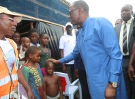 Governor Okowa Visits Flood IDPs at a Holding Camp in Patani Local Government Area