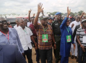 Chief Jame Ibori and Governor Okowa Wave to PDP Faithfuls at the Venue of the 2018 Guber Primary