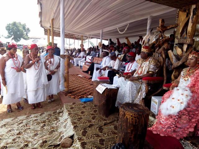 Omu Anioma, Leading other Omu to pay Homage to His Royal Majesty Igwe Chidubem Iweka III, Eze Obosi Kingdom at the Obiora Iwaji Festival