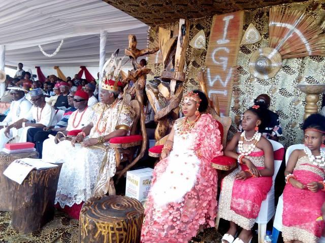 His Royal Majesty Igwe Chidubem Iweka III, Eze Obosi Kingdom and His Family at the Obiora Iwaji Festival