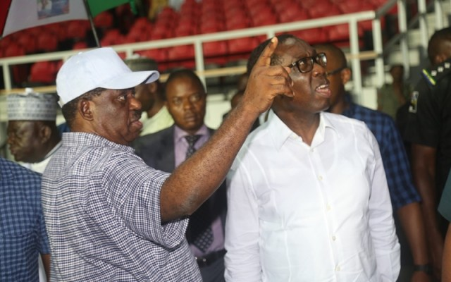 Delta State Governor, Senator Ifeanyi Okowa (right) and former Governor of Kogi State, Idris Wada, Inspecting Adokiye Amasiemeka Stadium in Preparation of PDP Convention, by the Planning Committee Members