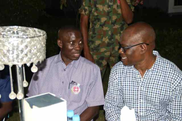 Rear Admiral Dick Tariworo (L) and Comrade Ovuozourie Macaulay (R) during the Dinner Host in Honour of Students of the41st Senior Course of the Armed Forces Command Staff College, Jaji