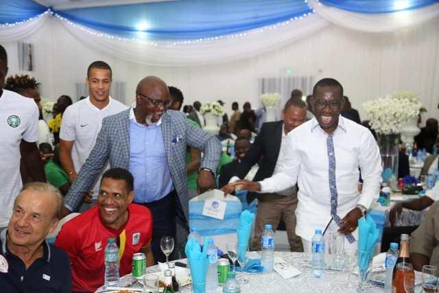Governor Okowa Hosts Super Eagles Team