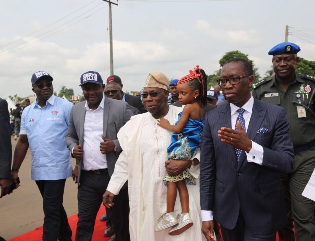 Former President of the Federal Republic of Nigeria, His Excellency, Chief Olusegun Obasanjo (2ndright); Delta State Governor, Senator Ifeanyi Okowa (right); Commissioner for Information, Mr. Patrick Ukah (left) and Chairman, Ika North-East Local Government Area, Barr. Victor Ebonka, during the Commissioning of Road Projects in Delta State.
