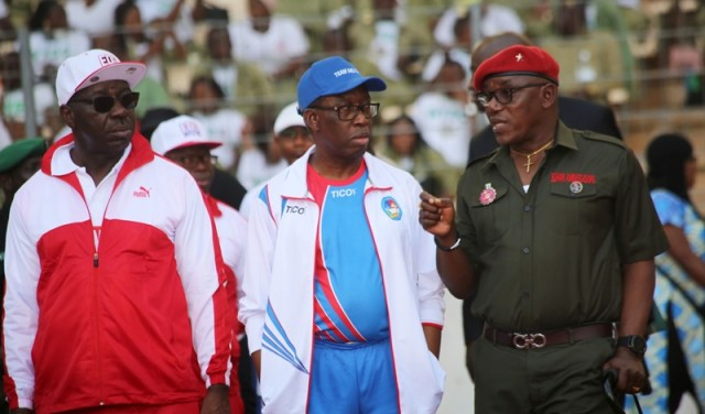 Delta State Governor, Senator Ifeanyi Okowa (middle); Governor of Edo State, Godwin Obaseki (left) and Hon. Minister of Sport, Solomon Dalung, at the 2018, 19th National Sport Festival held in Abuja