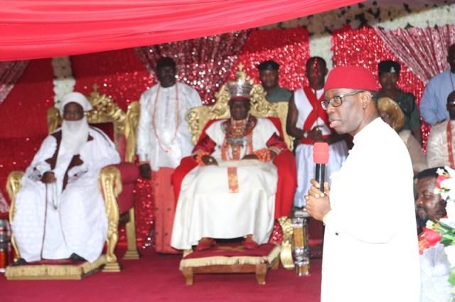 Delta State Governor, Senator Ifeanyi Okowa (right) and His Royal Majesty, Ogiame Ikenwoli the Olu of Warri Kingdom and His Eminence Sultan Muhammadu Saad Abubakar III, the Sultan of Sokoto during the 3rd Coronation Anniversary of the Olu of Warri.