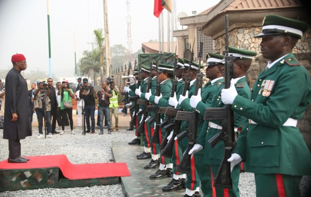 Delta State Governor, Senator Ifeanyi Okowa (left), before the inspection of a guard of honour mounted by a detachment of the Nigerian Army, during the inauguration of 63 Brigade, Nigerian Army in Asaba. PIX: BRIPIN ENARUSAI