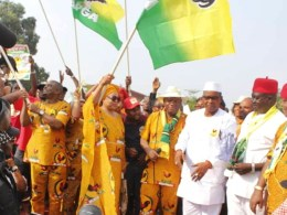Presentation of flag to Hon Angela Nwaka as the APGA candidate for Aniocha south constituency seat.