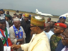 Olorogun O'tega Emerhor, Leader, Mainstream Delta APC Welcoming President Muhammadu Buhari to Delta State during the APC 2019 Presidential Campaign in Warri, Delta State