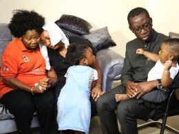 Delta State Governor, Senator Ifeanyi Okowa (right); Chairman, Delta State Civil Service Commission, Dame Nkem Okwuofo (left); Mrs. Veronica Ijei and her Children, during Governor Okowa condolence visit to the family of Late Mr Lawrence Ngozi Ijei, SA to the Governor on Youth Development in Asaba