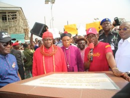 Delta State Governor, Senator Ifeanyi Okowa (2nd right), his Deputy, Barr. Kingsley Otuaro (right), HRM. Okpuzo I, the Odionlogbo of the Owhelogbo Kingdom (2nd left), Rt Revd John Aruakpor (3rd left), Chief James Augoye (left), during the commissioning of the Newly ReconstructionWidening of OwhelogboAbbi Road in Isoko North and Ndokwa West LGAs At Owhelogbo.
