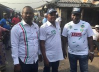 The Delta State Commissioner for Urban Renewal and Coordinator, 2019 PDP Campaigns in Burutu local government area, Chief Julius Takeme (right), the candidates for Burutu North and South Constituencies, Delta State House of Assembly contest, Chief Asupa Forteta and Mr. Pullah Ekpotuayerin, during PDP ward to ward, community to community campaign in Burutu council area.
