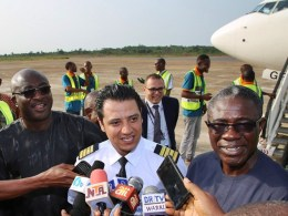 Delta State Commissioner for Information, Mr. Patrick Ukah (left); Airport Manager, Mr. Austine Ayemidejor (right) and Captain Ramy Mansour, during the Boarding of Egyptian Football Team from Asaba International Airport back to Egypt.