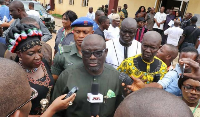 Delta Assembly Speaker, Rt. Hon. Sheriff Oborevwori Speaking at INEC's Office after receiving his Certificate of Return