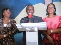Delta State Governor, Senator Ifeanyi Okowa (middle), his wife, Dame Edith (right), and the wife the Deputy Governor, Dr Ebierin Otuaro (left), during a victory thanksgiving service, shortly after being declared the winner of the just concluded State Governorship election in Asaba.