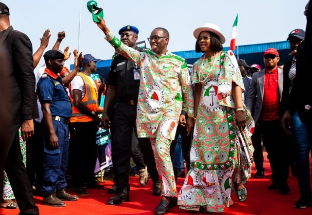 (L-R) Delta State Governor, Dr Ifeanyi Okowa and Wife, Dame Edith Okowa