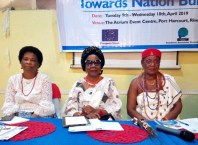 L-R: Amb. Nkoyo Toyo, Senator Stella Omu and HRM Obi Martha Dunkwu, Omu Anioma at the 12th Niger Delta Women Dialogue Roundtable