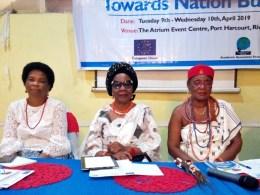 L-R: Amb. Nkoyo Toyo, Senator Stella Omu and HRM Obi Martha Dunkwu, Omu Anioma at the 12th Niger Delta Women Dialogue Roundtable