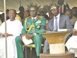 L-R: Former Delta State Governor, Chief James Ibori; Former Head of State, Gen Yakubu Gowon (Rtd); Chief of Army Staff, Lt. Gen. Tukur Buratai; Edo State Governor, Mr. Godwin Obaseki and Delta State Governor, Sen. Ifeanyi Okowa, at the funeral service in honour of former Military Administrator of the defunct Mid-West region (now Edo and Delta States), late Maj. Gen. David Ejoor (Rtd.), on Friday, May 3, 2019, in Ughelli, Delta State.