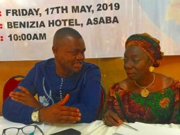 L-R: Delta State Commissioner, Ministry of Oil and Gas, Mr Freeman Fregene and the Permanent Secretary in the Ministry, Mrs Nkem Ajufo during a Consultative Stakeholders Forum of Oil and Gas Host Communities for Delta North Senatorial District in Asaba