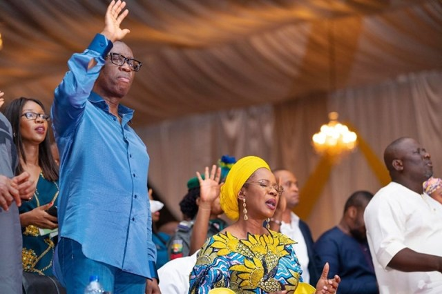 Governor Ifeanyi Okowa and Wife, Dame Edith Okowa during Praise and Worship Service to mark his Second Term Inauguration