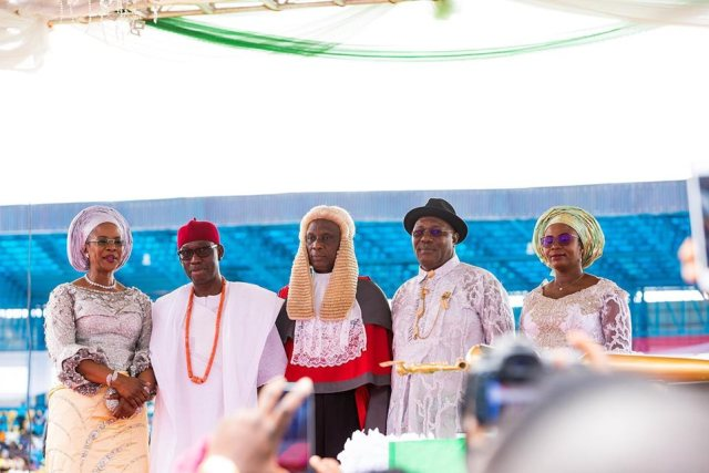 Delta State Governor, Senator Ifeanyi Okowa (2ndleft); his wife, Dame Edith (left); Deputy Governor of Delta State, Barr. Kingsley Otuaro (2ndright); his wife, Engr Ebierin and the Chief Judge of Delta State, Justice Marshall Umukoro, during the Inauguration Ceremony of Governor Ifeanyi Okowa second term, at Stephen Keshi Stadium, Asaba Delta State