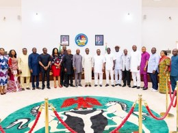 Delta State Governor, Senator Ifeanyi Okowa flanked by members of the Transition Committee for his SecondTern in Office