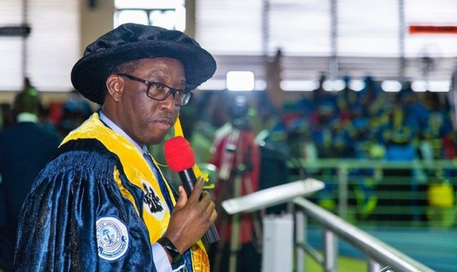 Delta State Governor, Senator (Dr) Ifeanyi Okowa Speaking during the 13th Convocation ceremony of Delta State University, DELSU, Abraka