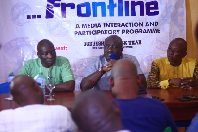 Chief Patrick Ukah, Delta State Commissioner for Information Speaking at FRONTLINE Programme of the Delta Online Publishers Forum (DOPF)