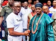 Delta State Governor, Senator Ifeanyi Okowa (left), and HRM. Dr Benjamin Ikechukwu Keagborekuzi 1, the Dein of Agbor Kingdom