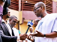 Delta State Governor, Senator Ifeanyi Okowa (right) taking Interview during the 2019 Father's Day Thanksgiving Service Celebration, at St' Peter's Anglican Church Boji-Boji Owa, Delta State.
