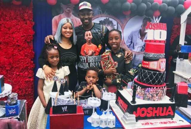 BIRTHDAY: The Member Representing Ndokwa East, Delta State House of Assembly and former Deputy Speaker of the House, Rt Hon Friday Osanebi, his wife Ogechi, daughter, Jessy, sons Joshua and Jeffery at the 10th birthday celebration of his son Joshua in Beneku, Ndokwa East local government area.