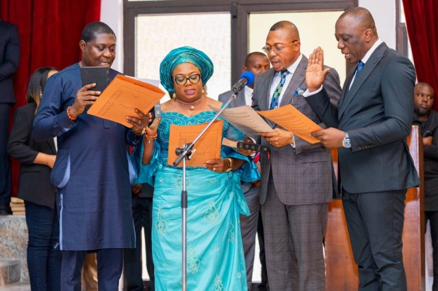 From left; Chief James Augoye; Mrs. Florence Alante; Hon. Basil Ganagana and Barr. Peter Mrakpor, Taking a Oath of Office as newly Appointed Commissioners in Delta State, held in Government House Asaba.