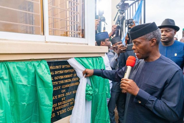 Vice President of the Federal Republic of Nigeria, Prof. Yemi Osinbajo flanked commissioning 650 housing units at Issele-Azagba, Aniocha North