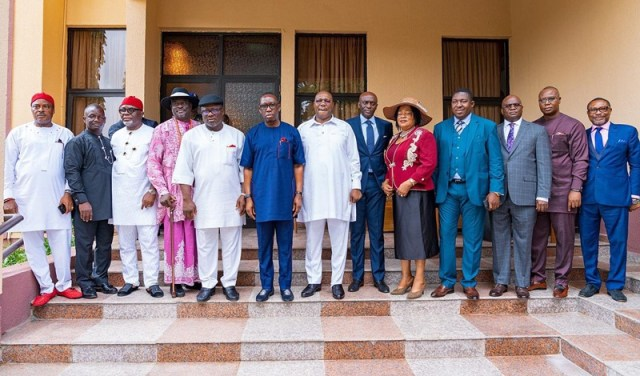 Delta State Governor, Senator Ifeanyi Okowa (6th left); Deputy Governor of Delta State, Barr. Kingsley Otuaro (7th left); Speaker, Delta State House of Assembly, Rt. Hon. Sheriff Oborevwori (5th left) and Others, during the Swearing-in of Newly Special Advisers to the Governor of Delta State, in Government House Asaba.