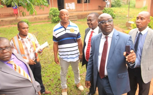 (2nd right) Chief Patrick Ukah, Delta State Commissioner for Basic and Secondary Education on a School Tour