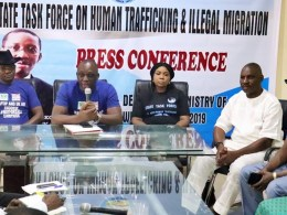 Officials of Delta State Task Force on Human Trafficking and Illegal Migration