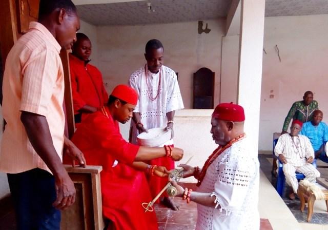 Obi Nduka Installing Fidelis Jigide As Esogba of Issele-Uku Kingdom