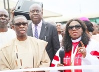 Delta State Governor, Senator Ifeanyi Okowa (left) and Bishop Margaret Idahosa, during the Commissioning of Prayer Tower Building and Water Project by the Governor, at Balm of Gilead, Church of God Mission Benin City.