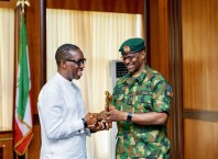 Delta State Governor, Senator Dr. Ifeanyi Okowa (left) Receives Brig. Gen. Usman Bello, during a courtesy call on the Governor, by the Commanding Officer 63 Brigade Asaba, Nigeria Army, in Government House Asaba