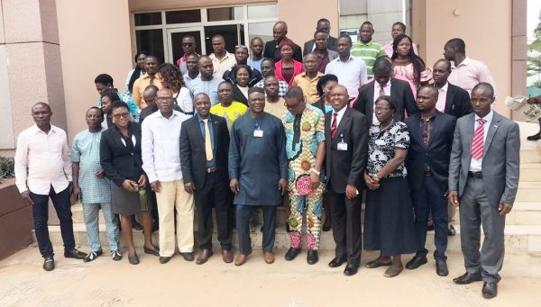 Hon Ferguson Onwo, Member representing Isoko South Two Constituency flanked by Staff of Isoko ethnic nationality of the State House of Assembly and the State House of Assembly Commission