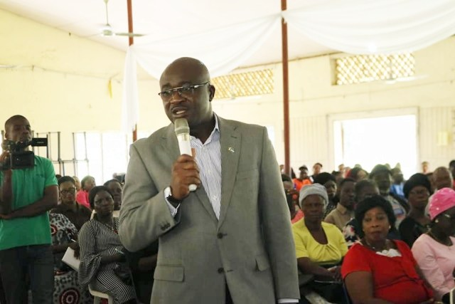 Chief Patrick Ukah, Delta State Commissioner for Basic and Secondary Education Addressing School Heads in Warri