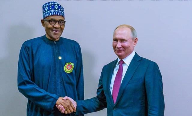 President Muhammadu Buhari and Russian President, Vladimir Putin at Russia-Africa Summit in Sochi, Russia