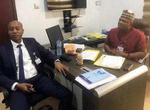 R-L: Pullah Ekpotuayerin, Chairman, House Committee on Environment, Oil and Gas and Hon. Fred Martins