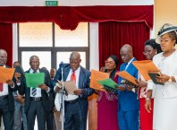 Delta State newly appointed Permanent Secretaries, taking oath of office, during their swearing-in ceremony in Asaba.