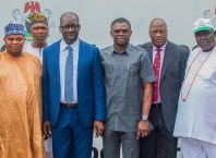 L-R: President, National Union of Road Transport Workers (NURTW), Alhaji Ibikunle Tajudeen; Edo State Governor, Mr. Godwin Obaseki; his Deputy, Rt. Hon. Comrade Philip Shaibu; Secretary to the State Government, Osarodion Ogie Esq., and Edo State Chairman, NURTW, Chief Odion Olaye, during a courtesy visit by members of NURTW to the governor, at Government House, Benin City.