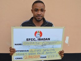 Onifade Gideon, Internet Fraudster Arrested by EFCC