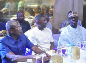 L-R: APC National Chairman, Adams Oshiomhole, Edo Dep. Gov Philip Shaibu and Edo Governor, Godwin Obaseki as Guests at a Public Function