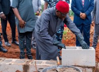 Okowa Lays Foundation for the Faculty of Law building at Margaret Lawrence University in Ute-Ogbeje