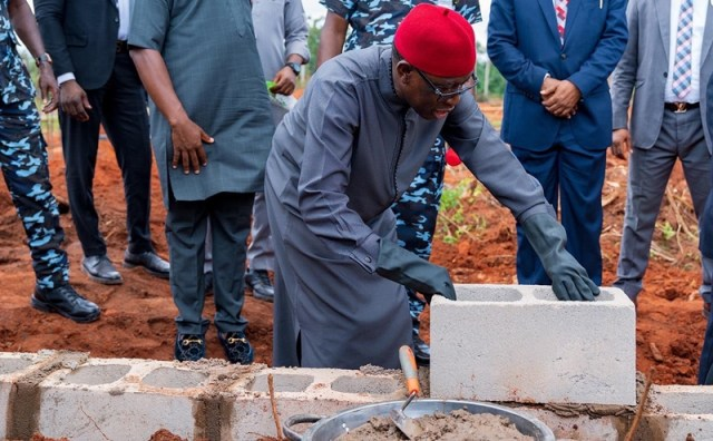 Okowa Lays Foundation for the Faculty of Law building at MargaretLawrence University in Ute-Ogbeje